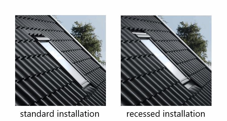 VELUX offers a range of flashings designed for different roofing materials and provide two options for installation height of the roof window